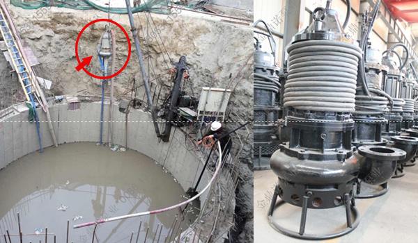 沉井下沉不排水施工时,使用潜水泥浆泵清淤